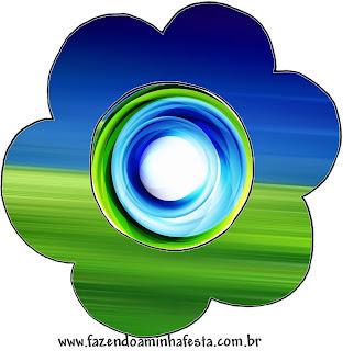 Tarjeta con forma de flor de Azul y Verde.