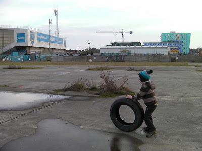 abandoned derelict plot of land by portsmouth football club fratton way
