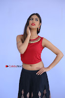 Telugu Actress Nishi Ganda Stills in Red Blouse and Black Skirt at Tik Tak Telugu Movie Audio Launch .COM 0019.JPG