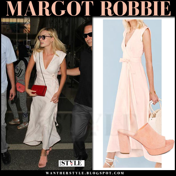 Margot Robbie in light pink wrap the reformation dress and pink suede mules mansur gavriel what she wore