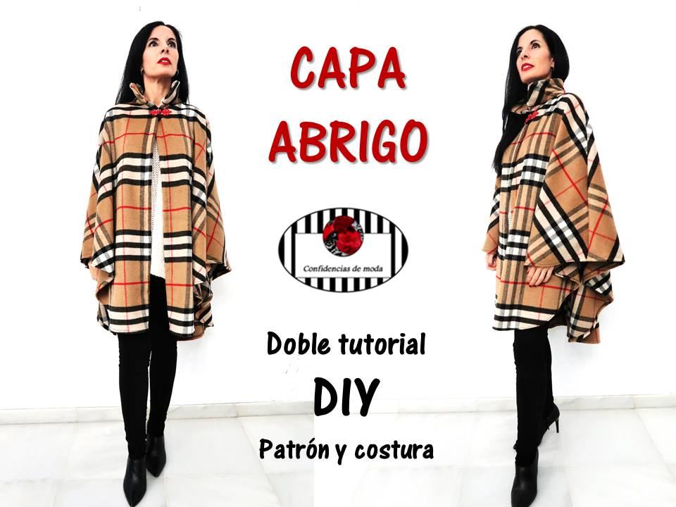 DIY. Cómo hacer una capa abrigo con cuello alto. Patrón y costura