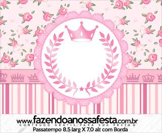 Corona Rosada en Shabby Chic: Etiquetas para Candy Bar para Imprimir Gratis.