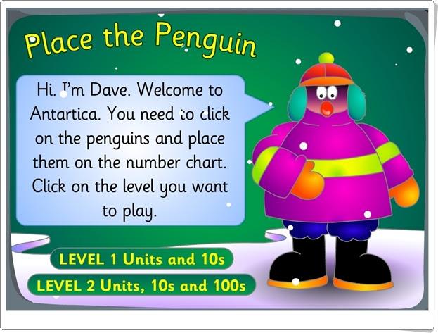 """""""Place the Penguin"""" (Juego de decenas y centenas)"""