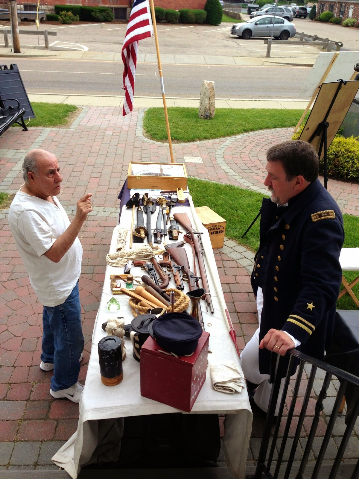 discussing the Civil War display at Franklin Historical Museum