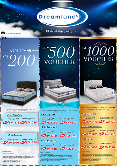 Dreamland Discount Cash Voucher up to RM1000 for Chiro series mattress