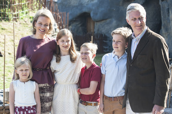 Queen Mathilde and King Philippe of Belgium with their children, Crown Princess Elisabeth, Prince Gabriel and Prince Emmanuel  visited animal park at the Pairi Daiza