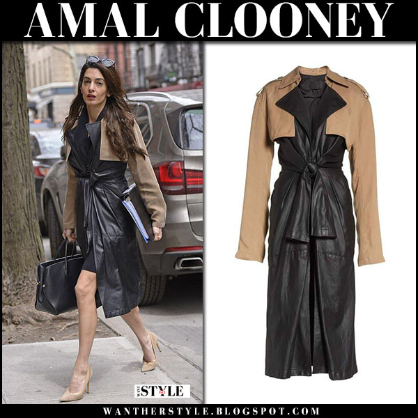 Amal Clooney in black leather trench coat alexander wang street fashion march 27