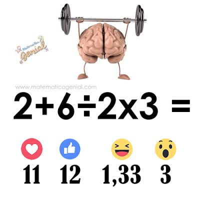 Qual o resultado da expressão: 2 + 6 ÷ 2 x 3?