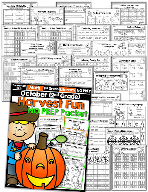 Teach basic math operations, sight words, phonics, grammar, handwriting and so much more with the October NO PREP Packet for Second Grade!