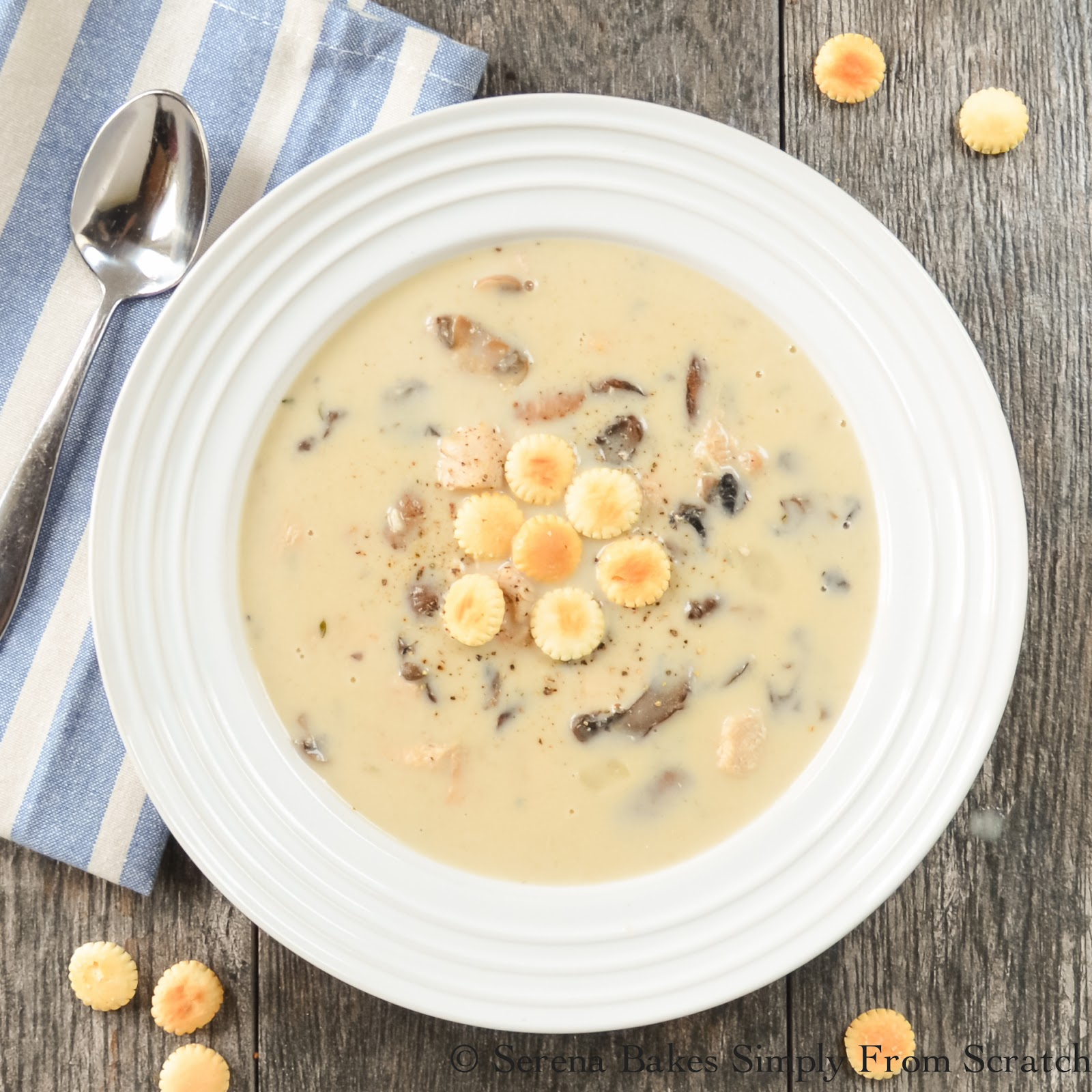 Creamy Chicken and Mushroom Soup the perfect comfort food on a cold day!