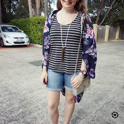 awayfromblue instagram stripes and florals autumn print mixing outfit with shorts