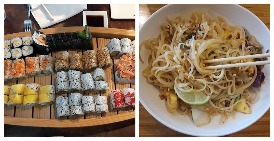 Sushis et nouilles asiatiques