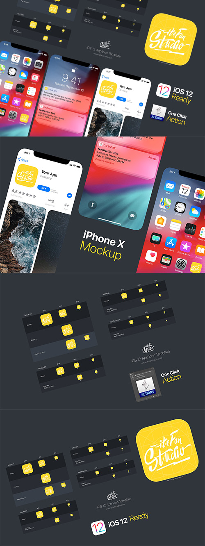 ملف PSD ايقونات وتصاميم لنظام iOS 12