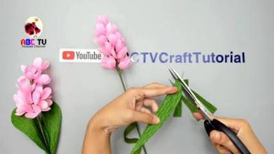 bunga kertas krep yang mudah dan  bunga kertas sederhana