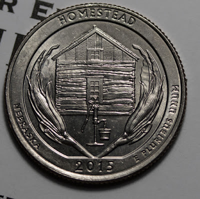 Reverse of 2015-D Homestead Quarter, Home, Grains, Water Pump