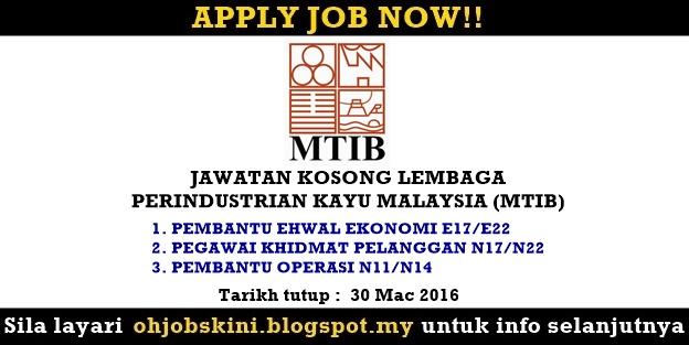 Jawatan Kosong Lembaga Perindustrian Kayu Malaysia (MTIB)
