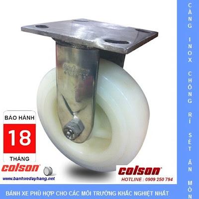 Bánh xe Nylon PA trắng càng inox 304 Colson Mỹ tại Bạc Liêu www.banhxeday.xyz