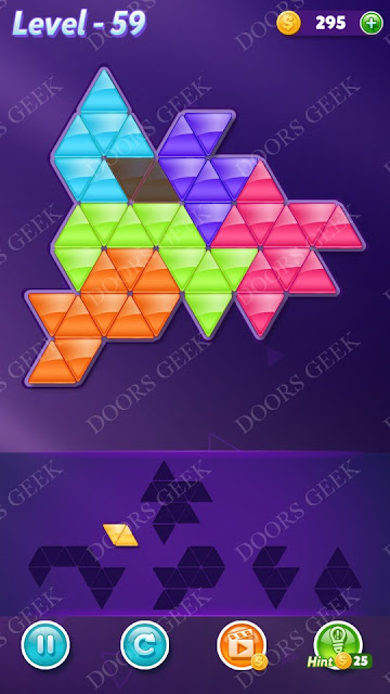Block! Triangle Puzzle Intermediate Level 59 Solution, Cheats, Walkthrough for Android, iPhone, iPad and iPod