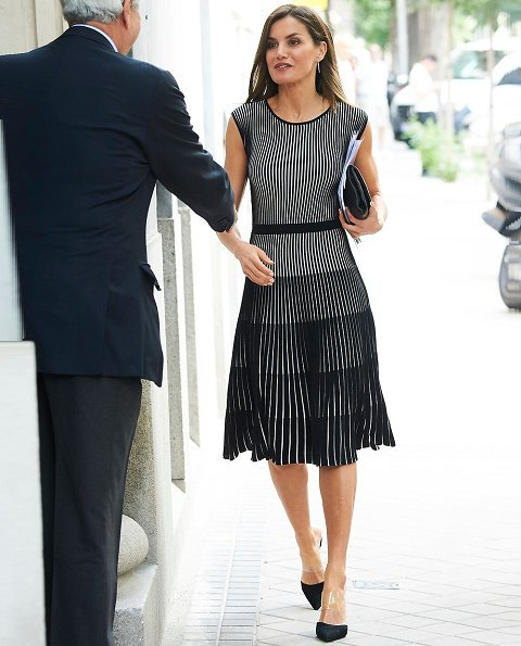 Queen Letizia wore Hugo Boss Franca Stretch Cotton Dress, Steve Madden suede pumps and she carried Carolina Herrera clutch bag