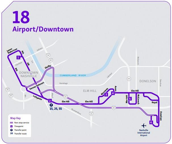 Mapa da linha de ônibus do aeroporto para o Centro de Nashville