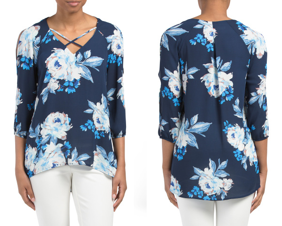 NY Collection Cold Shoulder Floral Top $17 (reg $34)