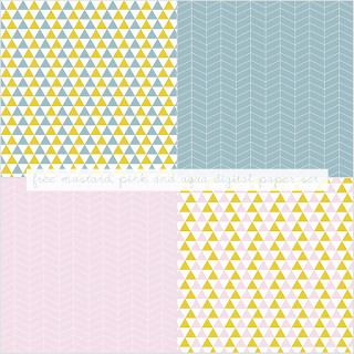 Free Mustard, Pink and Aqua Digital Paper