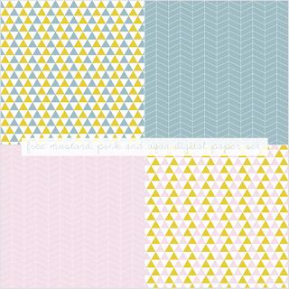 Free Mustard, Pink and Aqua Digital Paper
