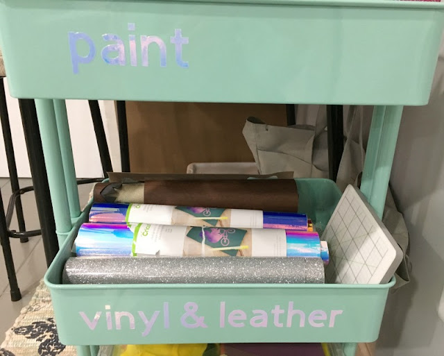 Keep all your craft supplies labeled with pretty holographic vinyl using your Cricut!