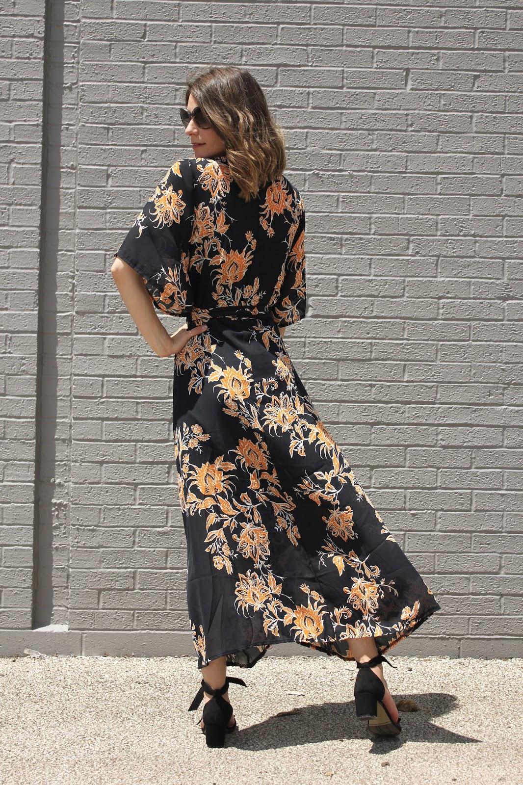 Black Floral Maxi Warp Dress