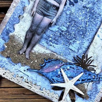 Sara Emily Barker http://sarascloset1.blogspot.com/ One Last Beach Day Shabby Card #timholtz #sizzixalterations #stampersanonymous #rangerdistress 3