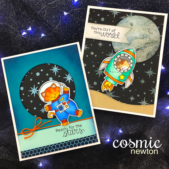 Space Cat Cards by Jennifer Jackson | Cosmic Newton stamp set and die set by Newton's Nook Designs #newtonsnook