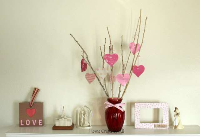 scrapbook paper valentine heart tree cricut decor display