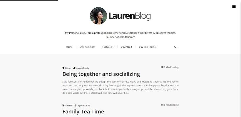 Lauren Free Blogger Template