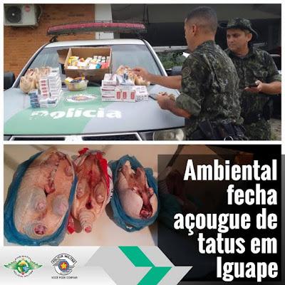 Policia Ambiental fecha açougue de Tatus em Iguape no Vale do Ribeira