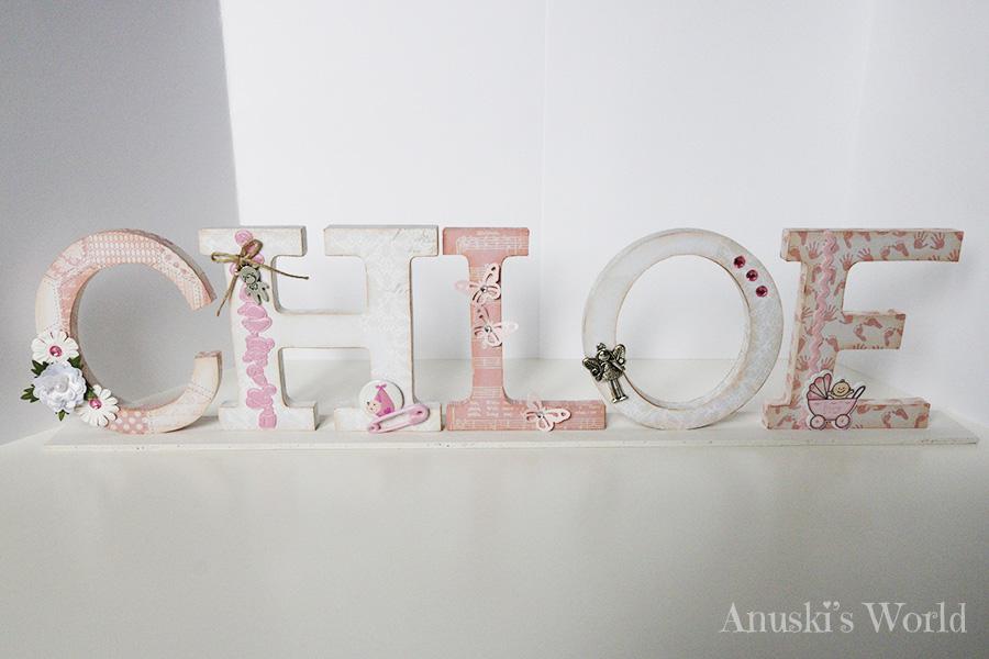 Letras de madera decoradas bebé para Chloe - Anuski´s World