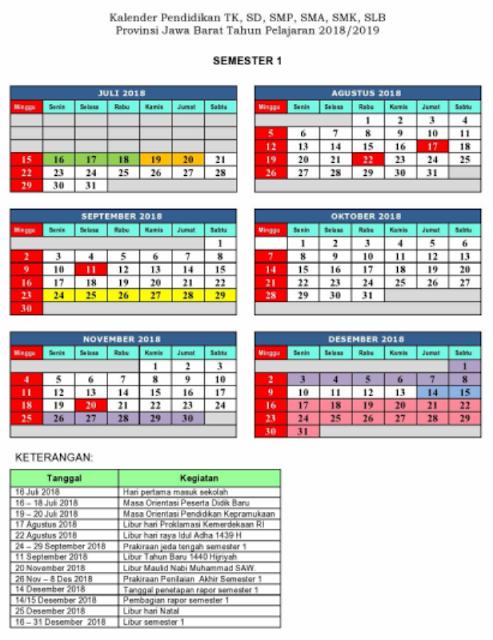 Kalender Pendidikan 2018/2019 Provinsi Jawa Barat