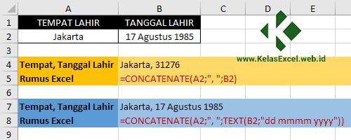 Cara menggabungkan tempat dan tanggal lahir di excel 2