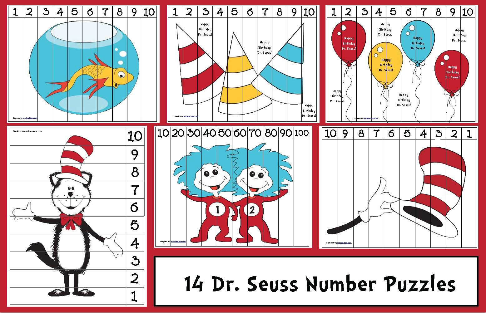 Seuss Themed Number Puzzles