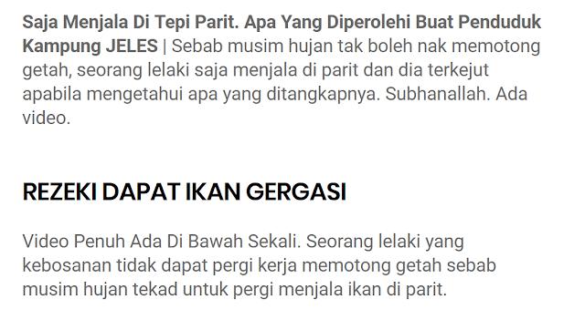 Saja Menjala Di Tepi Parit Apa Yang Diperolehi Buat Penduduk Kampung Jeles Bussines Melayu