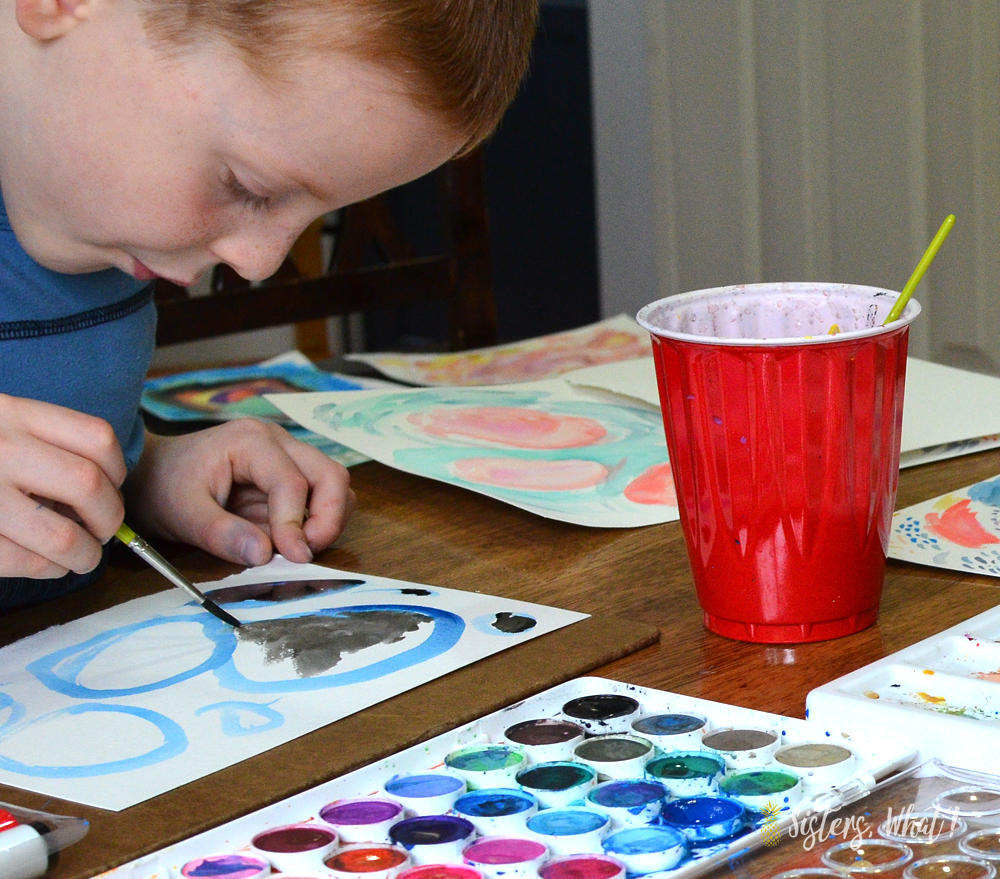 letting kids watercolor because it's not as messy
