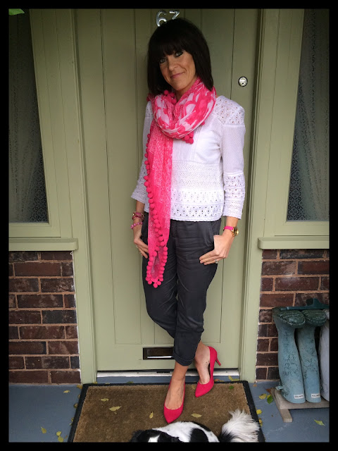 My Midlife Fashion, Lace top, pom pom scarf, chinos, hot pink, court shoes, zara, marks and spencer, Olivia Burton
