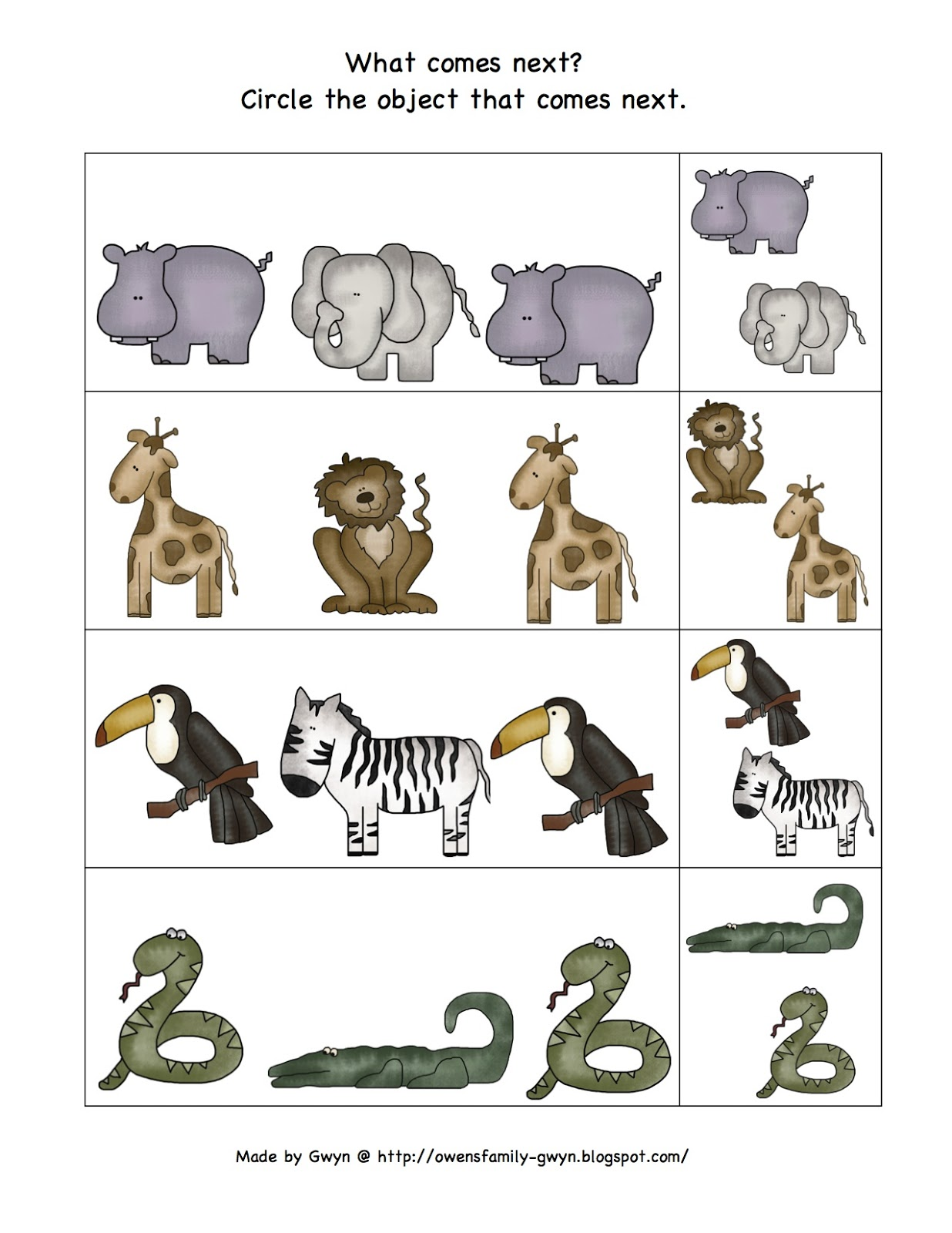 Zoo Animal Printables For Block Corner or Matching Game ... |Zoo Animals Printable
