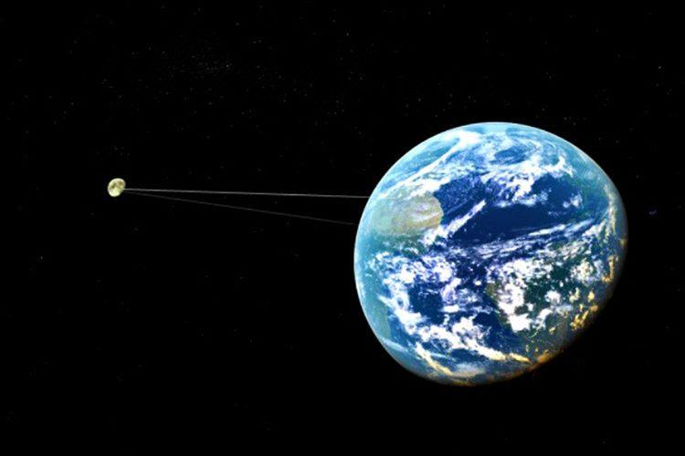 Ay her sene Dünya'dan 4 santimetre uzaklaşmaktadır,  bu süre zarfında Dünya'dan 400.000 kilotre uzaklaşmıştır.
