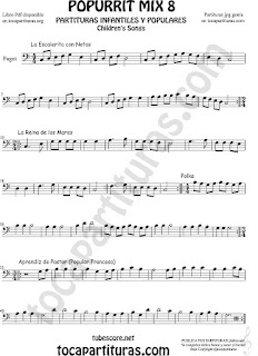 Mix 8 Partitura de Fagot La Escaleritas con Notas, La Reina de los Mares, Polka Popurrí 8 Sheet Music for Bassoon Music Scores