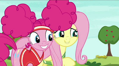 Pinkie and Fluttershy smiling