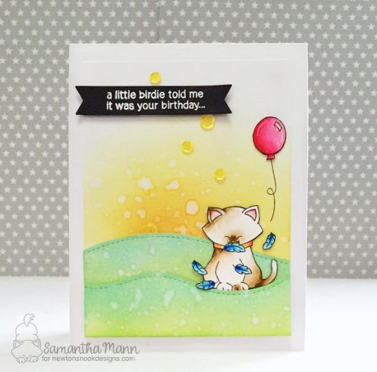 A Little Birdie Told Me Card by Samantha Mann | Newton's Birthday Flutter stamp set by Newton's Nook Designs #newtonsnook