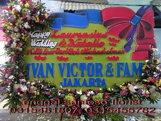 rangkaian bunga papan ucapan wedding