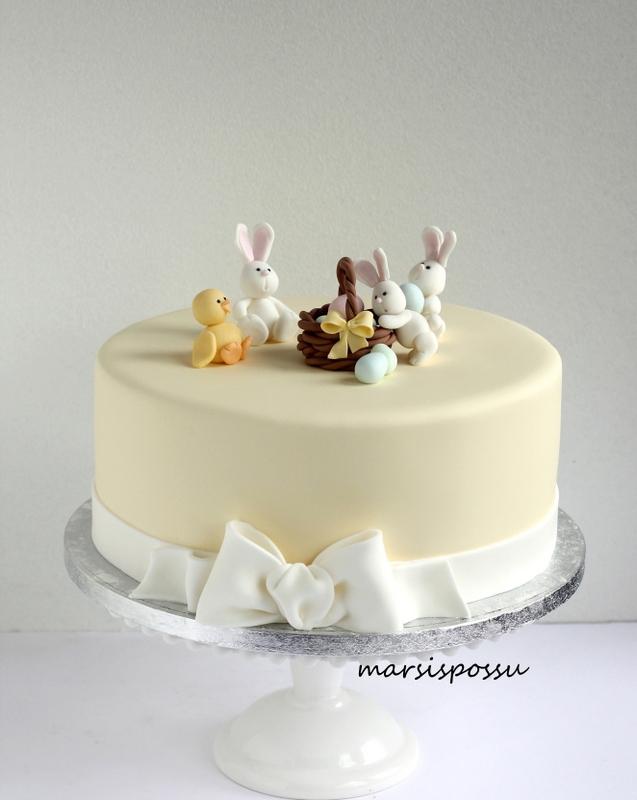 Pääsiäisaiheinen kakku synttäreille