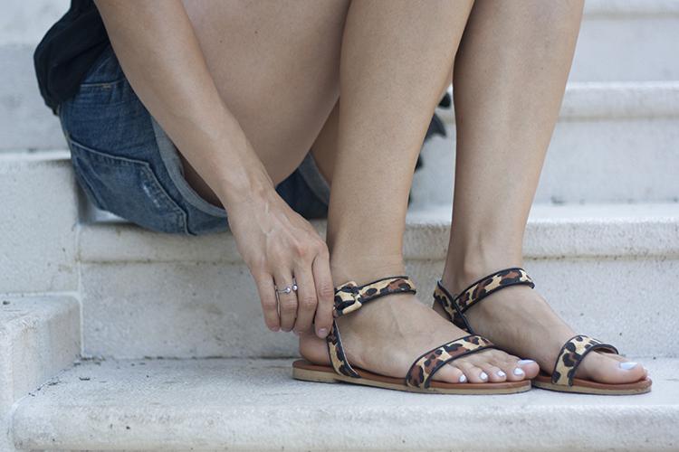 Skinny Buddha Montenegro vacation leopard sandals