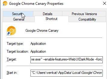 """وأضف  --enable-features=WebUIDarkMode --force-dark-mode  في الحقل الهدف بعد """"chrome.exe"""" (انظر لقطة الشاشة أدناه)."""